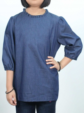 KITTY SOLID 3/4 SLEEVE BLOUSE IN DARK BLUE