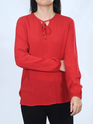 NEOL ROUND NECK LONG SLEEVE BLOUSE IN DARK RED
