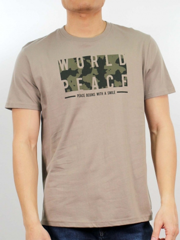 MIKE WORLD PEACE SHORT SLEEVE TOP IN KHAKI