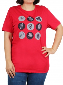 6b13e16db WOMEN PLUS SIZE LEAF PATTERN GRAPHIC TEE IN RED