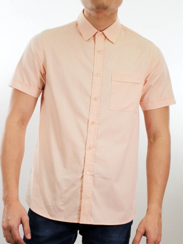 MARTIN COLLARED SHORT SLEEVE SHIRT IN LIGHT ORANGE
