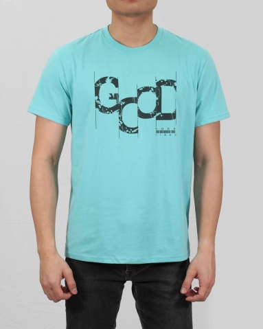 MEN GOOD VIBES GRAPHIC TEE IN LIGHT TEAL