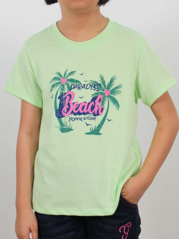 GIRLS PARADISE BEACH GRAPHIC TEE IN LIGHT GREEN