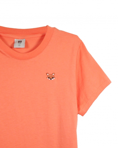GIRLS CARTOON FOX EMBROIDERY LOGO TEE IN LIGHT PEACH