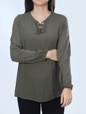 NEOL ROUND NECK LONG SLEEVE BLOUSE IN DARK ARMY