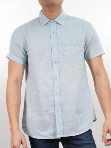 JACK COLLARED SHORT SLEEVE SHIRT IN LIGHT BLUE