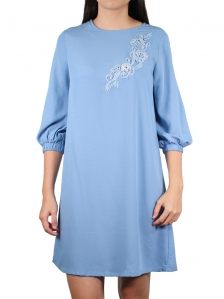 GLORIA  ROUND NECK 3/4 SLEEVE DRESS IN LIGHT BLUE