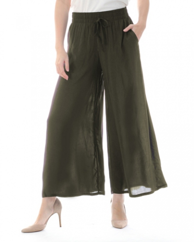 TINA SOLID FLARED LONG PANTS IN DARK OLIVE