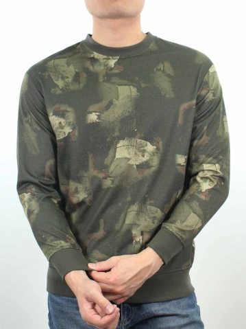 JACK PRINTED LONG SLEEVE PULLOVER IN ARMY GREEN