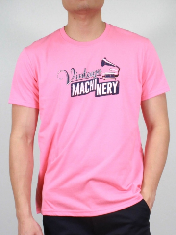 MEN VINTAGE MACHINERY GRAPHIC TEE IN MID PINK