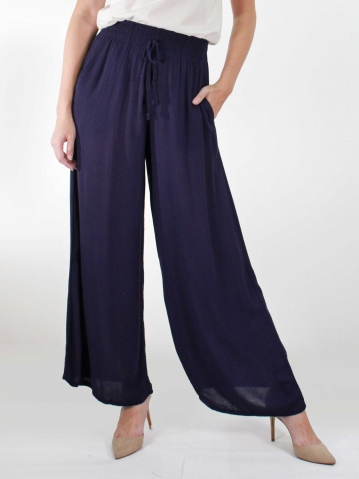 KATE SOLID FLARED LONG PANTS IN DARK NAVY