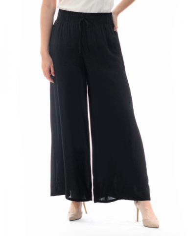 TINA SOLID FLARED LONG PANTS IN BLACK