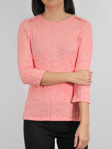 MOLLY ROUND NECK 3/4 SLEEVE TOP IN SALMON