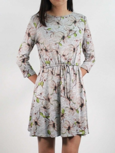 HEBE PRINTED 3/4 SLEEVE DRESS IN BROWN