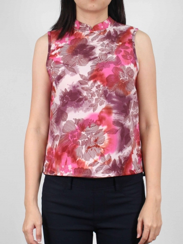 MOLLY PRINTED SLEEVELESS BLOUSE IN MID PURPLE