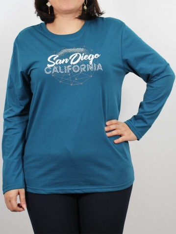 WOMEN PLUS SIZE SAN DIEGO GRAPHIC TEE IN PETROL