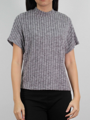 MOLLY CREW NECK SHORT SLEEVE TOP IN MID GREY