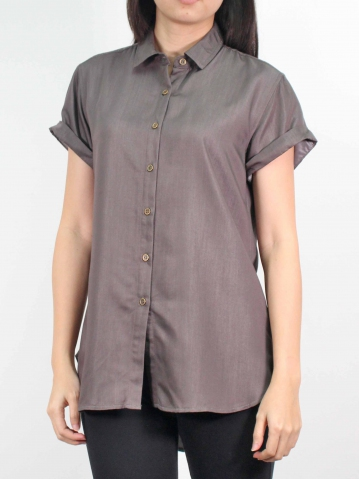 MOON COLLARED CAP SLEEVE LONG SHIRT IN DARK BROWN