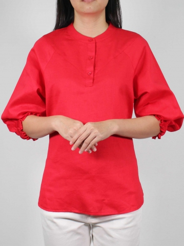 MOLLY  3/4 SLEEVE BLOUSE IN RED