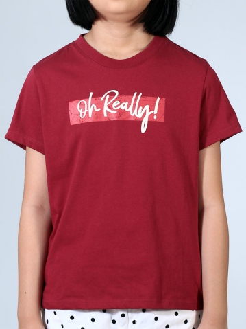 GIRLS OH REALLY GRAPHIC TEE IN MAROON