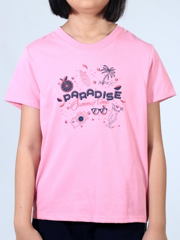 GIRLS PARADISE SUMMER TIME GRAPHIC TEE IN MID PINK