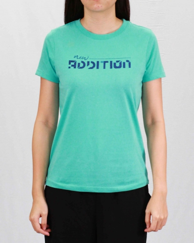 WOMEN NEW ADDITION GRAPHIC TEE IN LIGHT TEAL