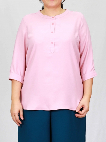 PENNY MANDARIN COLLAR 3/4 SLEEVE BLOUSE IN PINK