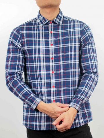 LUCAS COLLARED LONG SLEEVE CHECK SHIRT IN DARK BLUE