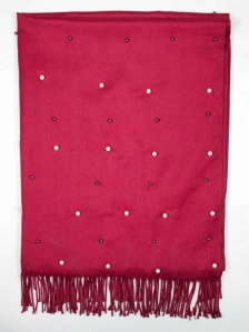 CHLOE BEADS TRIM SCARF IN MAROON