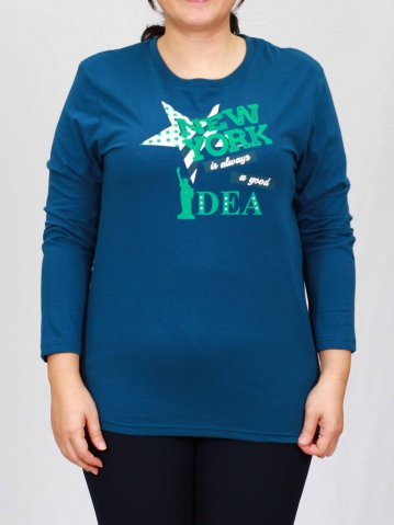 WOMEN PLUS SIZE NEW YORK GRAPHIC TEE IN PETROL