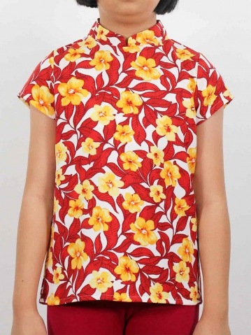 MELODI PRINTED SHORT SLEEVE BLOUSE IN RED