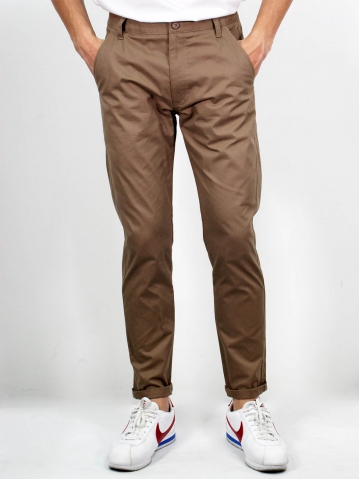 MIKE COTTON LONG PANTS IN LIGHT BROWN