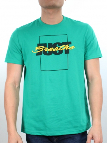 MEN JUST BREATHE GRAPHIC TEE IN DARK GREEN