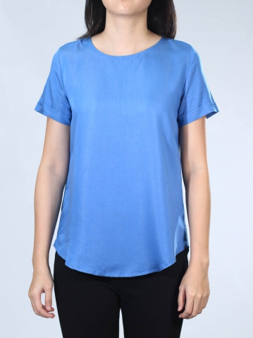 NEOL ROUND NECK SHORT SLEEVE BLOUSE IN MID BLUE