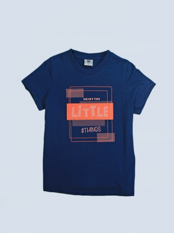 GIRLS ENJOY LITTLE THINGS GRAPHIC TEE IN DARK NAVY