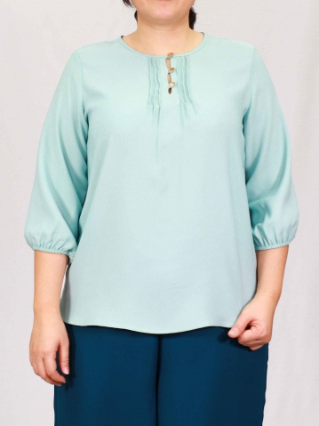 PENNY ROUND NECK 3/4 SLEEVE BLOUSE IN LIGHT TEAL
