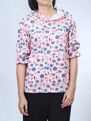 NOEL FLOWER PRINT 3/4 SLEEVE TOP IN PINK