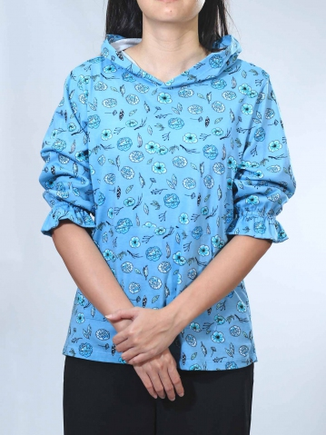 NOEL FLOWER PRINT 3/4 SLEEVE TOP IN MID TEAL