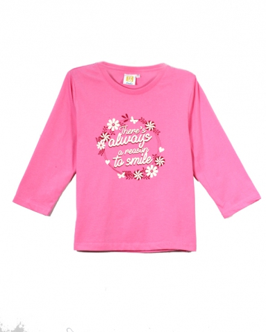 GIRLS REASON TO SMILE GRAPHIC TEE IN MID PINK