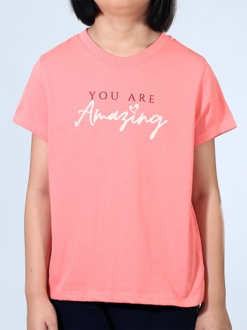GIRLS YOU ARE AMAZING GRAPHIC TEE IN CORAL