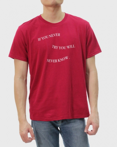 MEN NEVER TRY NEVER KNOW GRAPHIC TEE IN MAROON