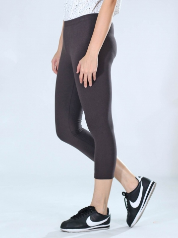 NEOL CROP LEGGINGS IN DARK BROWN