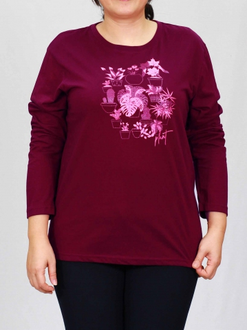 WOMEN PLUS SIZE PLANT IMAGES IN BURGUNDY