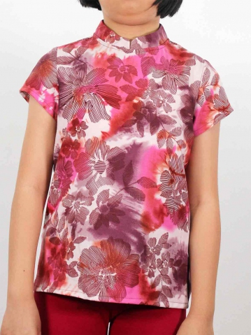 MELODI PRINTED SHORT SLEEVE BLOUSE IN MID PURPLE