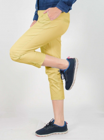 JANE COTTON CROP PANTS IN LIGHT YELLOW