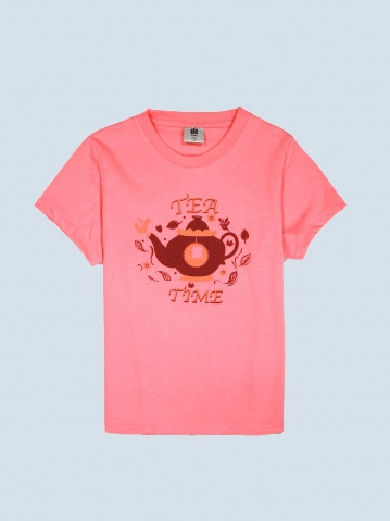GIRLS TEA TIME GRAPHIC TEE IN MID PINK