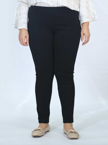 OLIVE KNITTED LONG JEGGING IN BLACK