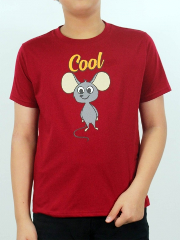 BOYS COOL MOUSE GRAPHIC TEE IN MAROON