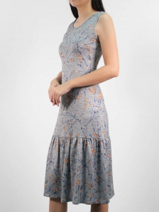 HEBE PRINTED SLEEVELESS DRESS IN DARK ROYAL