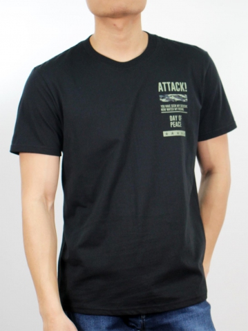 MIKE DAY OF PEACE SHORT SLEEVE TOP IN BLACK